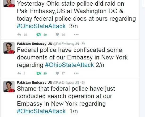 The federal police conducted search operation at Pakistan Embassy in New York