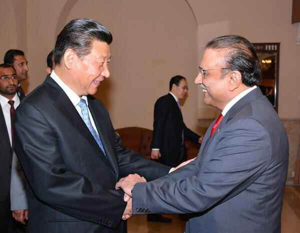 Former president Asif Ali Zardari is shaking hands with Chinese president XI Ping.jpg