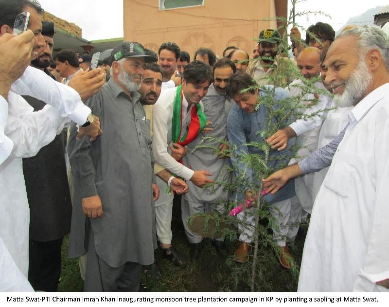7-8-14-CM Photo-E-Imran Khan inaugurating monsoon tree plantation campaign in KP by planting a sapling at Matta Swat.jpg