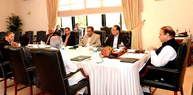 Prime Minister Muhammad Nawaz Sharif chairing a meeting to review rain and flood situation in the country at PM House, Islamabad on September 6, 2014.jpg